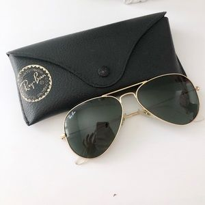Rayban Black and Gold Aviator Sunglasses